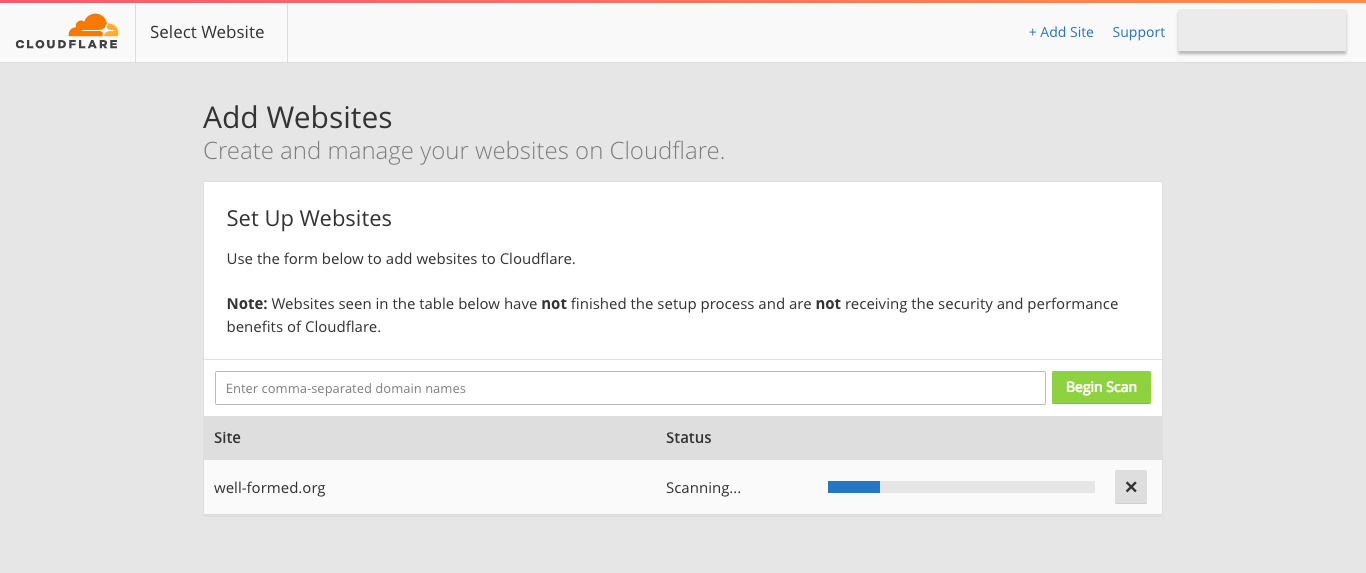 CloudFlare - Add Websites