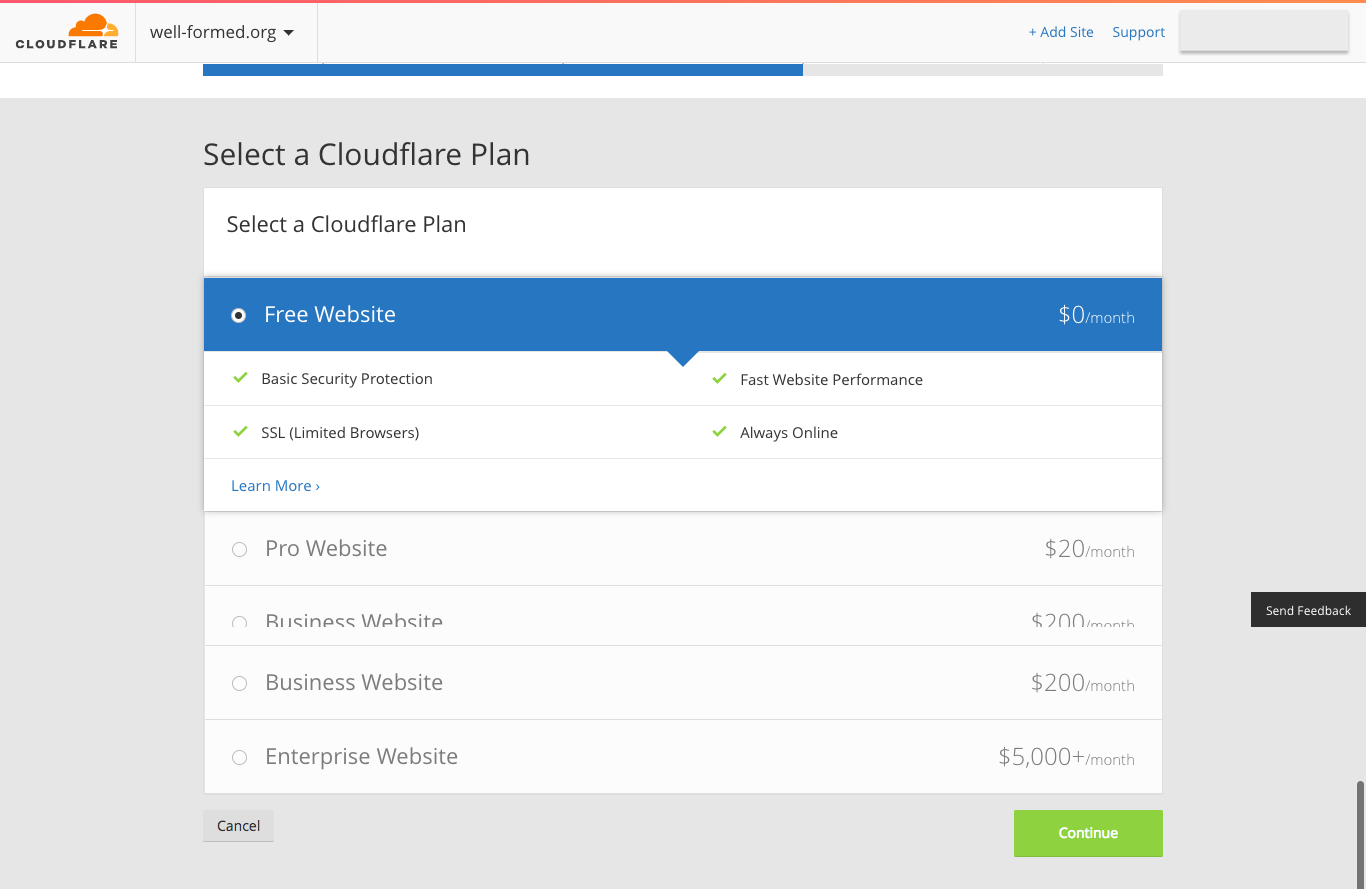CloudFlare - Select a plan