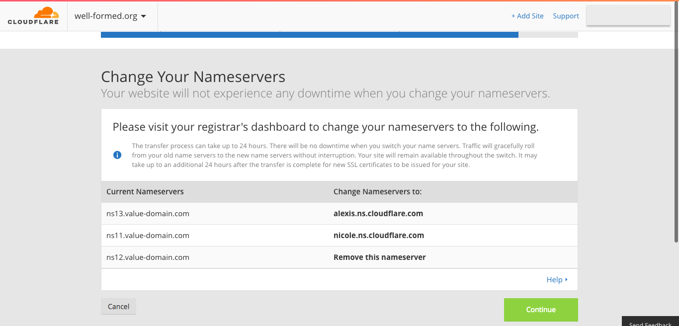 CloudFlare - Change Your Nameservers